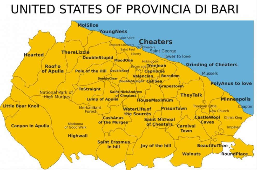 Ruvo Di Puglia Cartina.Che Nome Ha Ruvo Di Puglia Nella Spassosa Mappa United States Of Provincia Di Bari Ruvesi It